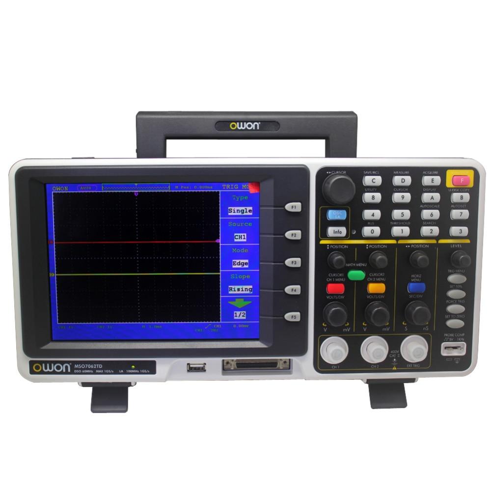OWON MSO7062TD 60MHz 1GS/s Mixed Signal MSO Oscilloscope logic analyzer EU ship MSO7062TD owon mso mso8102t logic analyzer oscilloscope 200mhz 2gs s 8 color lcd fft 1 7