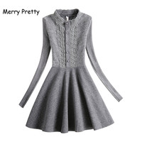 Merry Pretty Korean Fashion New Women Winter Dress Bottoms Lace Pathwork Wool Blend Warm Knitted Dresses Long Sleeve Party Dress