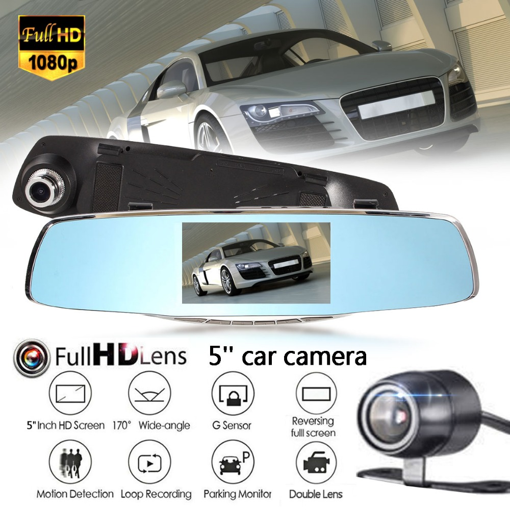 1080 P HD 5 дюймов Видеорегистраторы для автомобилей Видео Ночное видение Зеркало заднего вида 170 градусов широкоугольный объектив регистратор...
