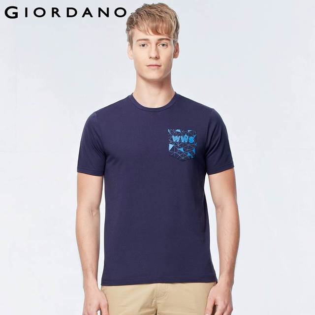 7fcbb1591d7f Giordano Men Graphic Pocket T-shirt Short Sleeve Fashion T-shirt Man  Printed Tee