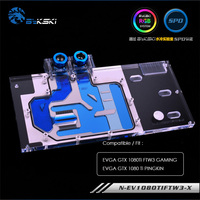 Bykski water block for EVGA GTX 1080Ti FTW3 GAMING/EVGA GTX 1080 Ti PINGKIN,12v 4pin ,5v 3pin light header ,N EV1080TIFTW3 X