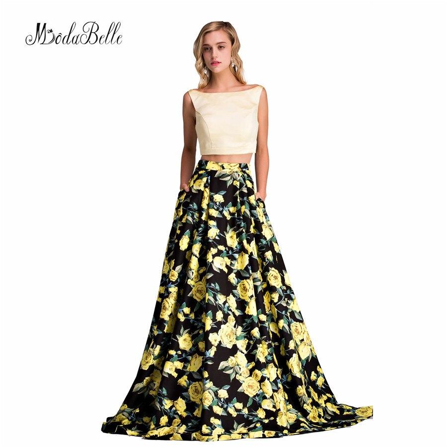 Stampa 2 pezzo Prom Dresses 2017 senza maniche floreale estate vestito da promenade floor-lunghezza abiti da donna pageant abiti da baile