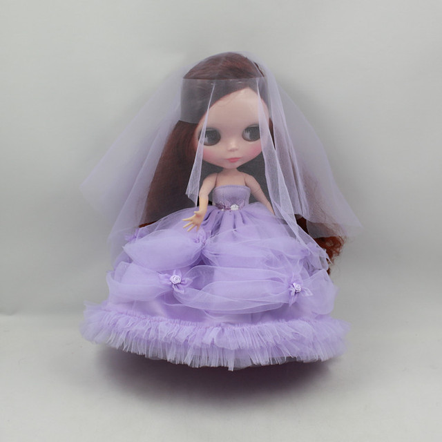 1/6 Blyth Doll Pink/Purple Dress Doll Clothing Accessories Wedding Dress Party Dress for 1/6 Doll