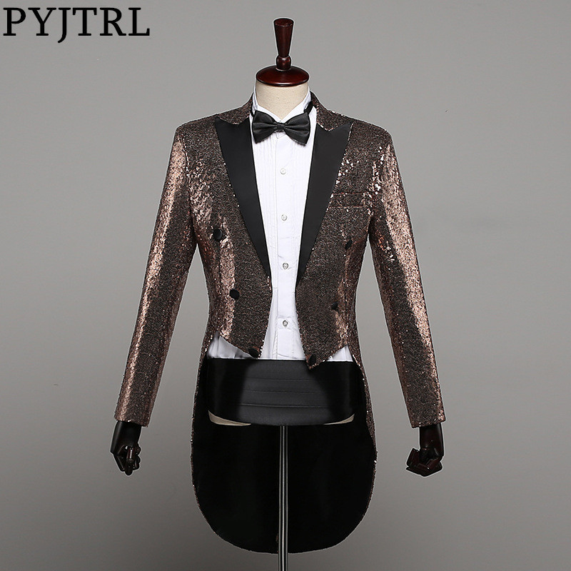 SHOWERSMILE Sequin Jacket Long Blazer Men Red Swallow tailed Coat Stage Singer Magician Suit Jacket Brand