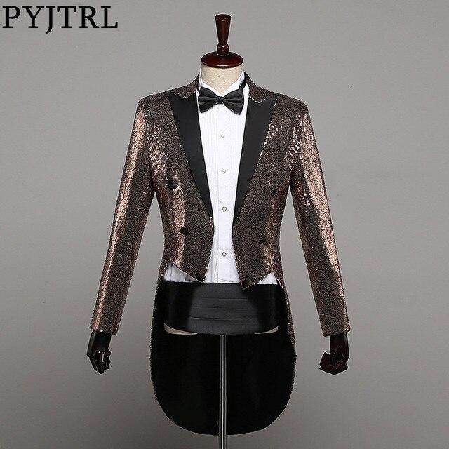 PYJTRL Mens แฟชั่นแชมเปญ Gold Silver Red Blue Black Sequins Tuxedo Swallowtail นักร้อง Paillette แจ็คเก็ตเครื่องแต่งกาย
