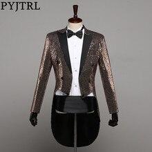 Pyjtrl moda masculina champanhe ouro prata vermelho azul preto lantejoulas smoking swallowtail casaco cantores paillette jaqueta traje outfit