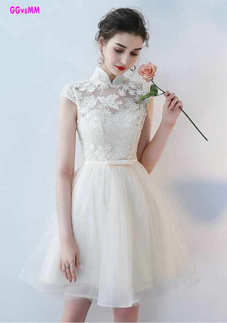 Elegant Ivory lace Prom Dresses 2018 Custom Made High Neck Tulle A ...