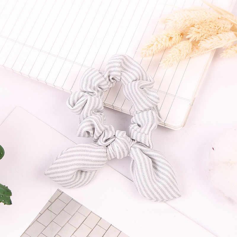 ل جميلة فتاة تصميم النساء لطيف أنيقة مخطط رابطة شعر مستديرة مع فراشة عقدة مرونة إكسسوارات الشعر العصابات الشعر
