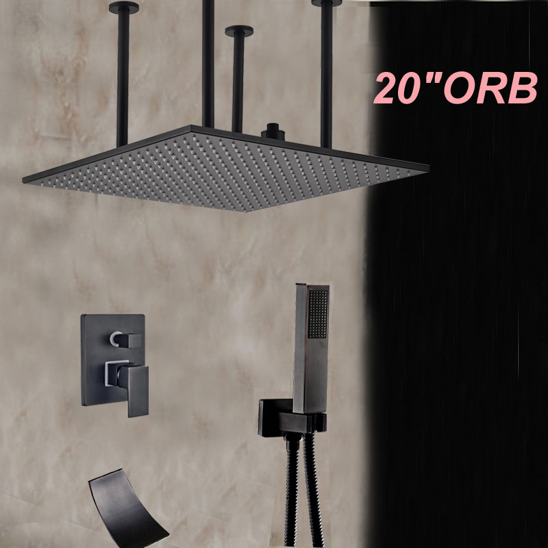 20 Ceiling Mounted Square Rain Shower Head Oil Rubbed Bronze Shower Waterfall Spout Mixer W/ Hand Sprayer