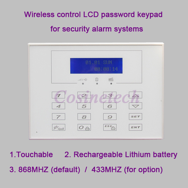 868MHZ LCD display Wireless Two way remote control keypad External Password keyboard for 433MHZ 868MHZ alarm