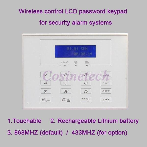 868MHZ LCD display Wireless Two way remote control keypad External Password keyboard for 433MHZ 868MHZ alarm
