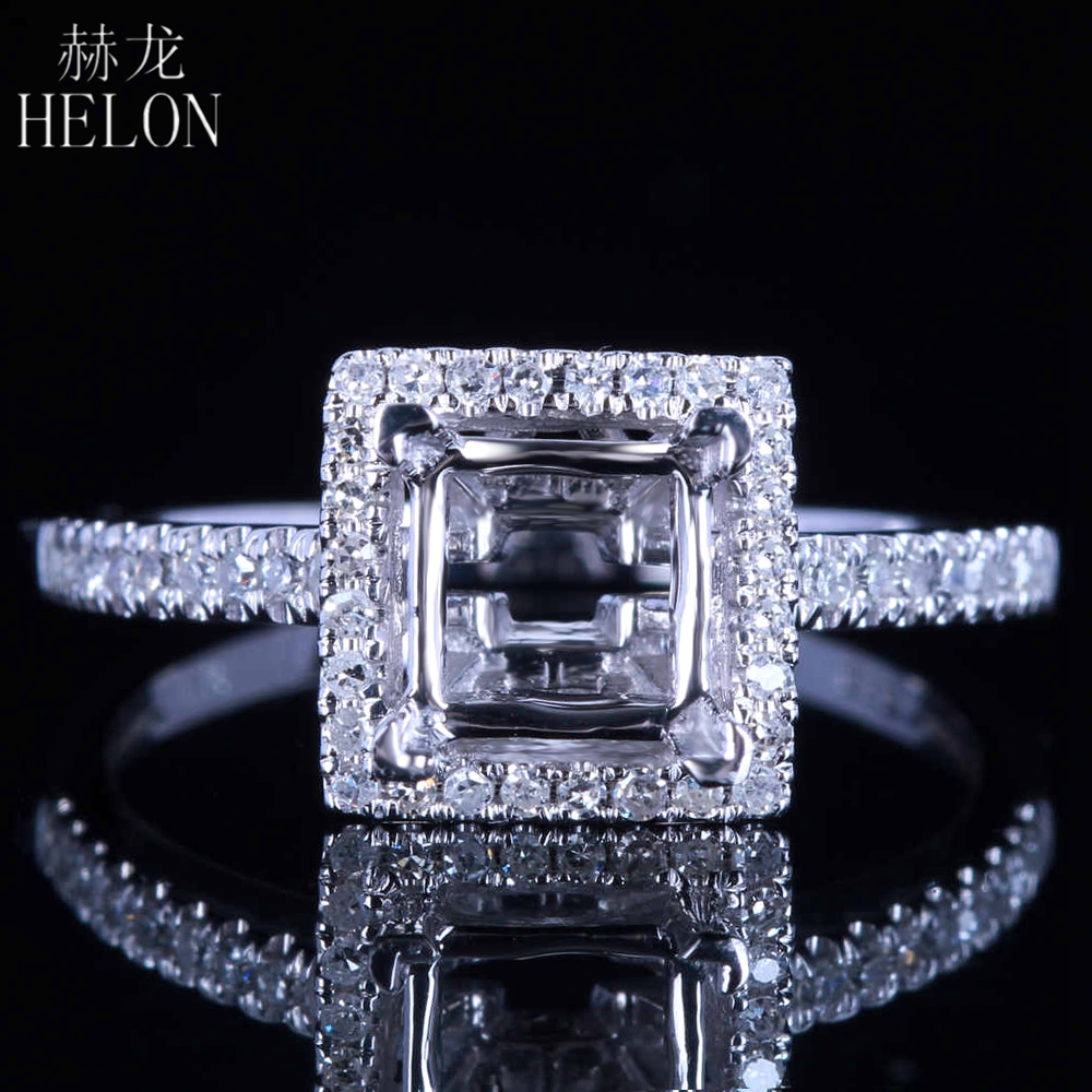 HELON Solid 4K (AU585) White Gold 5.5mm Princess Cut Semi Mount Engagement Wedding Natural Diamond Ring For Women Fine Jewelry