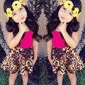 Retail 2016 New Kid Girls Clothing Set Summer Fashion Children Vest + Leopard Skirt Toddler Girls Clothing Set Baby Girl Clothes