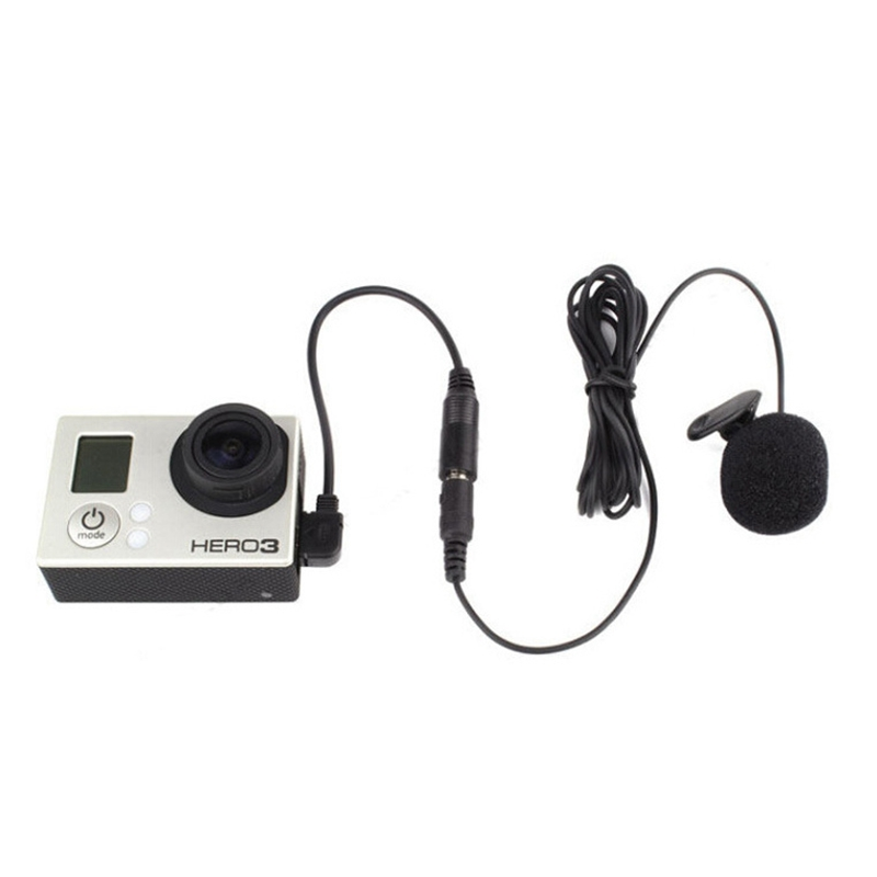 3.5mm Active Clip Microphone with Mini USB Audio Adapter Mic Cable For Gopro hero 3 3+ 4 Action Camera iPhone 5s Accessories kit image