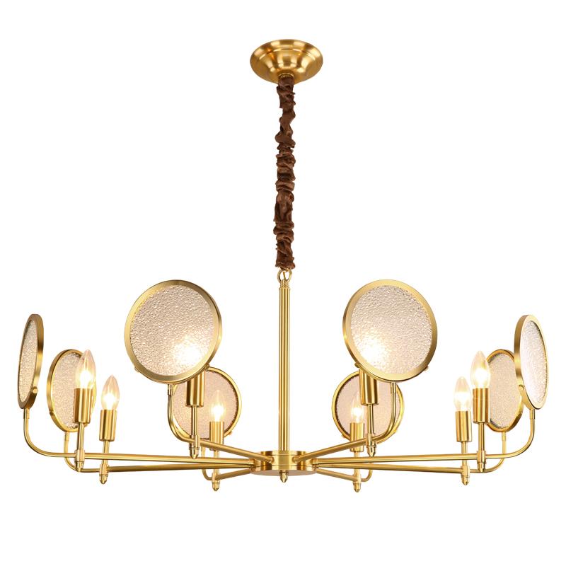 Nordic Real Brass Frosted Glass Pendant Light Modern Simple Living Room Restaurant 6/8 Heads E14 LED Bulbs Luxury Droplight