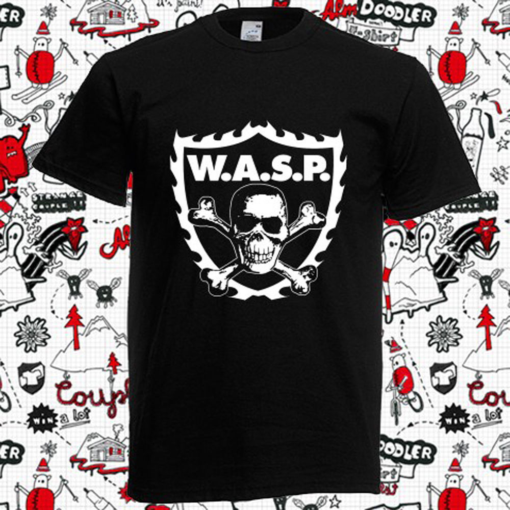WASP W.A.S.P. CROSSBONES Metal Mens Black T-Shirt S -XXXL free shipping New