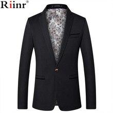 Riinr Mens Fashion Brand Blazer British's Style Casual Slim Fit Suit Jacket Male
