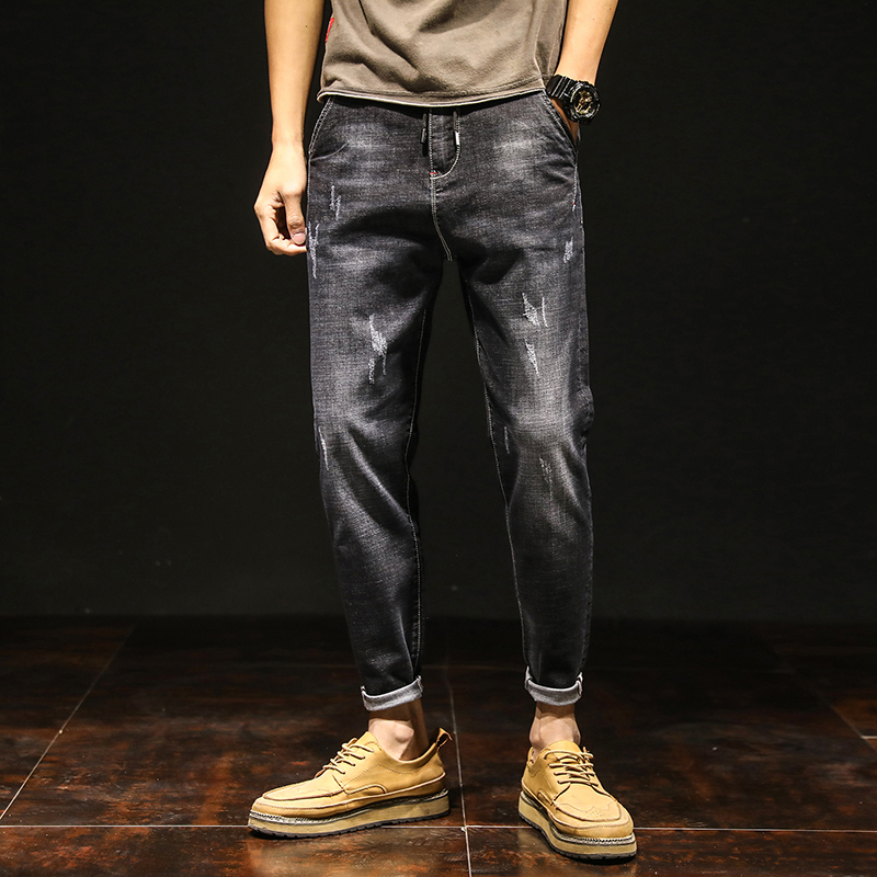 Slim Denim Jeans Men Designer Black Stretch Casual Pencil Pants Spring Male Elastic Fit Business Trousers