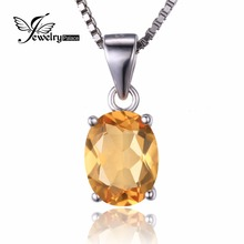 Excessive High quality 1.7ct Real Citrine Pendants For Girls Oval Lower Strong 925 Sterling Silver Charms Gemstone Jewellery 2016 Model New