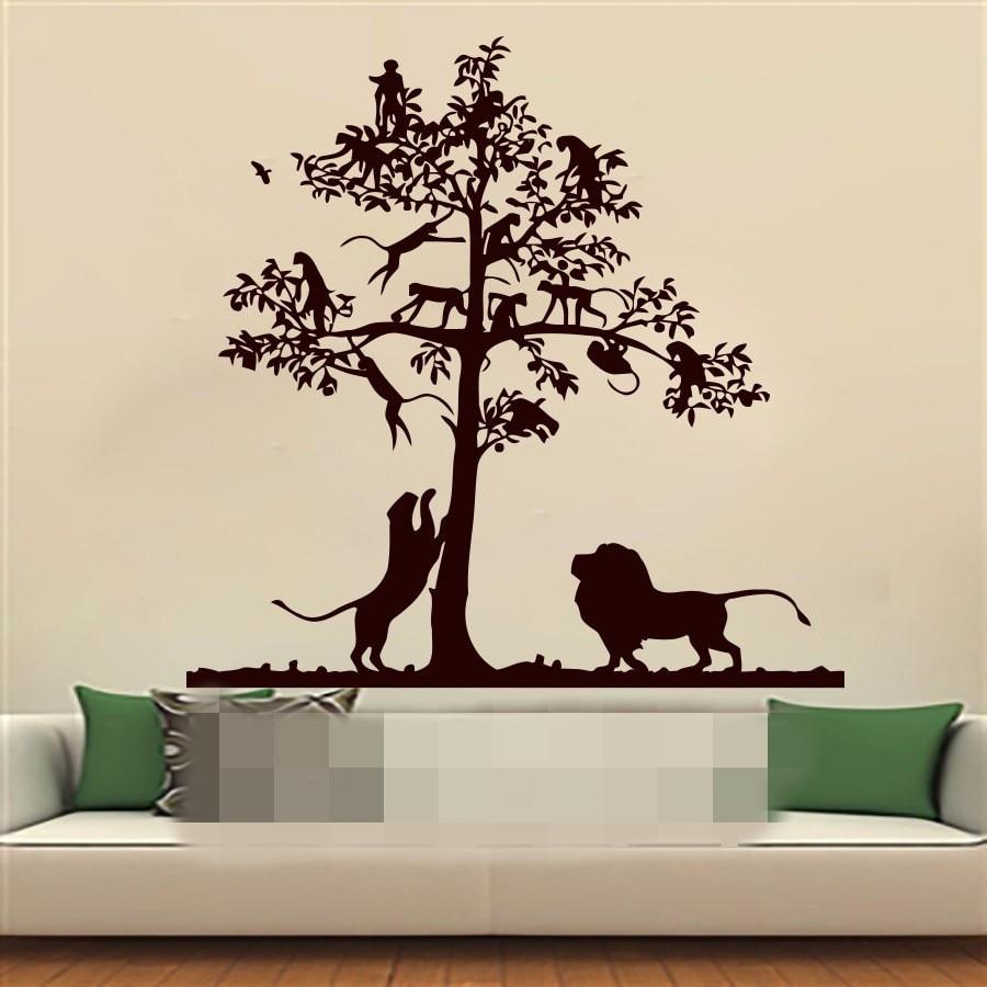 online get cheap stencil art children aliexpress com alibaba group lion tree monkey safari landscape children vinyl wall decals sticker boy girl nursery bedroom home decor art murals stencils