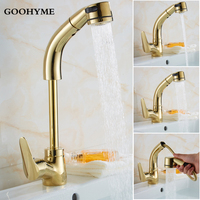 Modern Gold Pull Out Basin Faucet Adjustable Height Dual Sprayer Nozzle Faucets Single Hole Hot Cold Mixer Water Sink Tap BF006