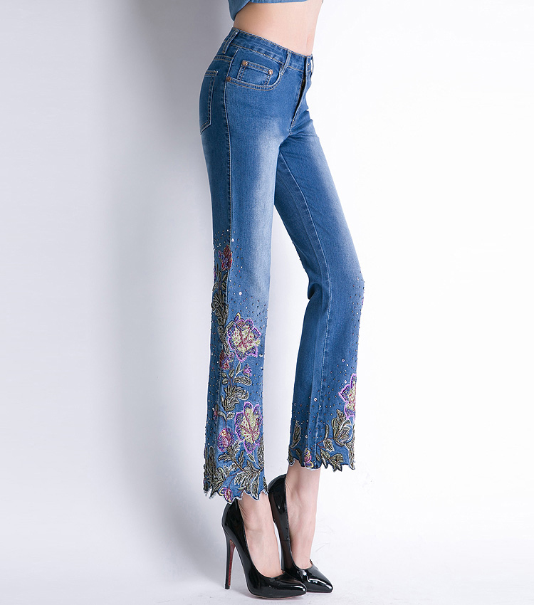 KSTUN FERZIGE Women Jeans High Waist Stretch Floral Embroidered Flares Bell Bottoms Hand Beading Slim Fit Boot Cut Ankle-length Pants 23