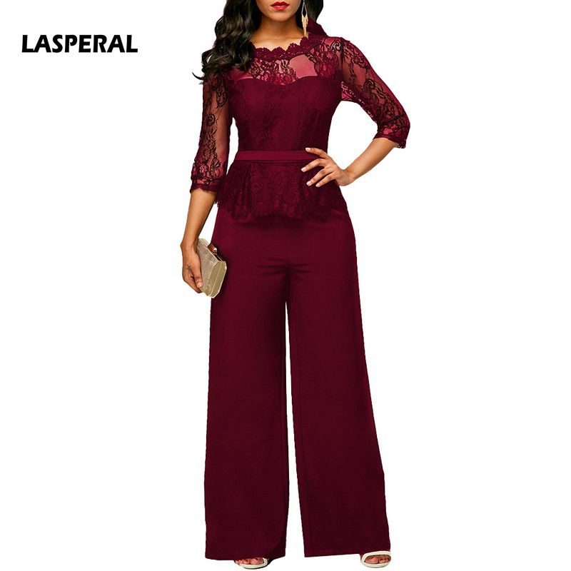 Lasperal New Casual Classic Lace Women Jumpsuits Wide Leg Long Sleeve Hollow Out Slim Work Office Rompers Feminino Playsuits