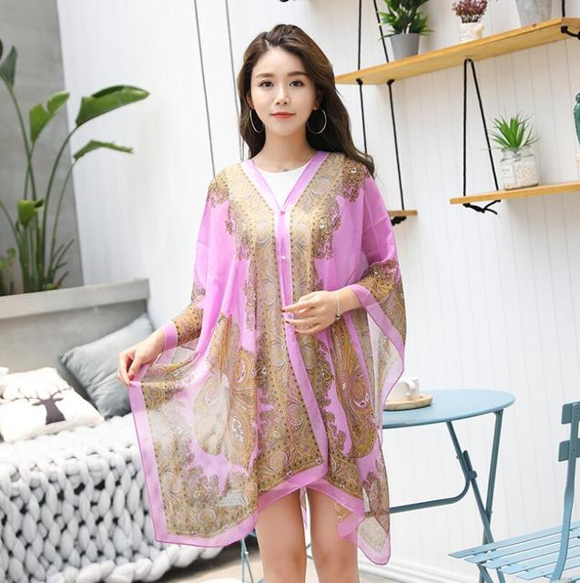 VISNXGI Fashion Floral Chiffon Blouses Women Spring Summer Style Beachwear Cover Up Elegant Flower Print Chiffon Loose Shirt 5