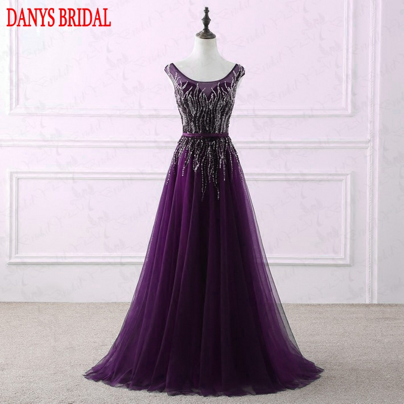 Luxury Sparkly Long Evening Dresses Party Women Sequin Tulle Purple ...