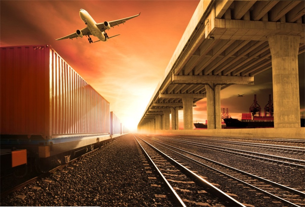 Laeacco Plane Take Off Train Station Railway Dusk Child Portrait Photography Backgrounds Photographic Backdrops For Photo Studio