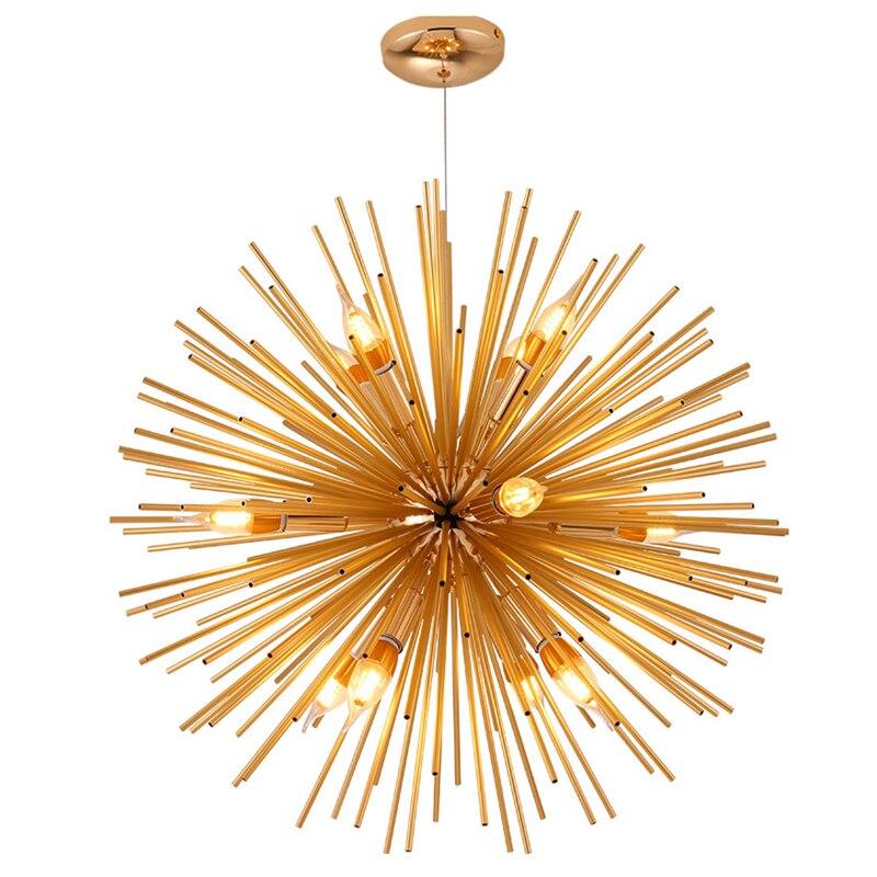 Современная люстра в форме одуванчика, диаметр 64 см, 12 светло золотой цвет, металл, E14, для спальни, кухни, столовой, подвесной светильник