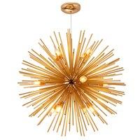 Современные Одуванчик люстра Освещение Dia.64cm 12 светлый цвет золотистый металл E14 для Спальня Кухня Обеденная подвесной светильник подвесно
