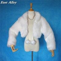 Kış Açık kadın Ceket Düğün Ceket Uzun Kollu Faux Fur Wrap Shrug Bolero Şal Fildişi ve Beyaz