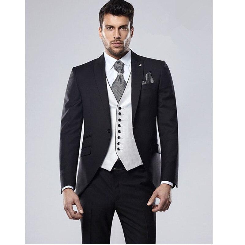 Custom Made Black Costume Homme Mens Suits Slim Fit Men Wedding Suit For Men 3 Piece Terno Masculino (Jacket+pants+vest)