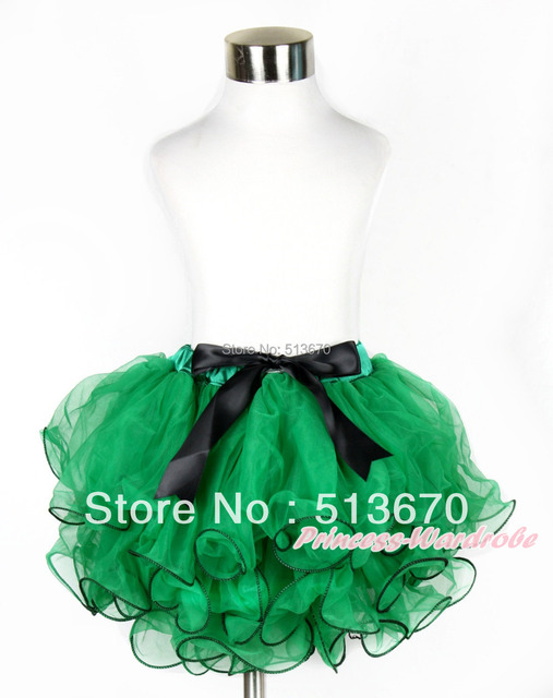 Xmas Kelly Green Flower Petal Full Pettiskirt With Black Bow MAB209