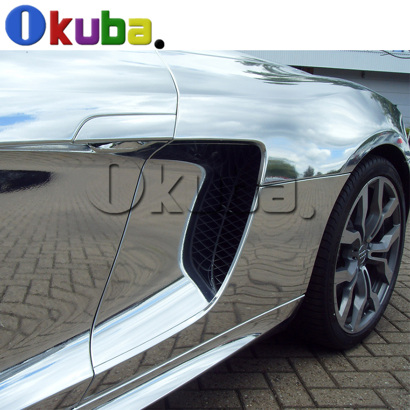 2016 High Stretch Chrome Silver Vinyl Wrap Full Car Wrapping Mirror Chrome Film Air Bubble Free Vehicle Covers 1.52*20m/Roll high quality stretchable chrome black vinyl wrap sheet roll for car wrapping air free bubble