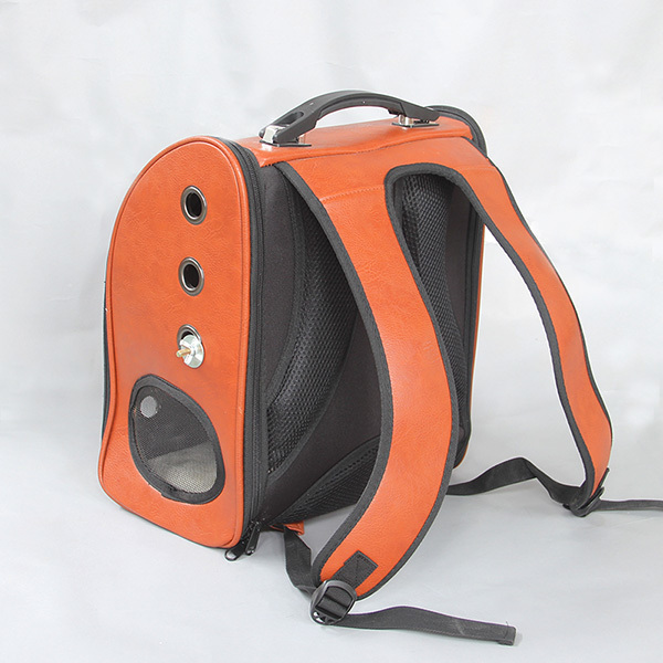 Outdoor leather Bird backpack Parrot Carriers Cage Parrot Bag With Wood Perch Pet Breathable Space Capsule Backpack CW081 3