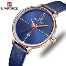 f954e811478c NAVIFORCE las mujeres relojes de marca de lujo dama reloj de cuarzo de moda  de las mujeres zapatos casuales de cuero de la corre.