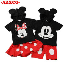 Girls Minnie Clothing New 2019Summer 2Pcs Cartoon Mickey Short-sleeved Hooded T-shirt + Shorts Skirt Suit Kids Cotton Clothing(China)
