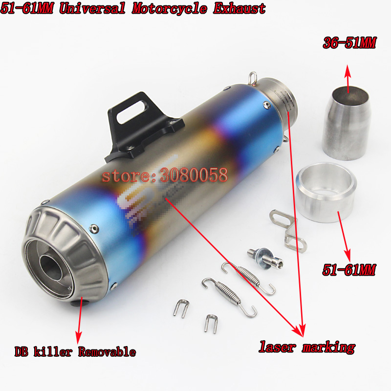 51mm 61mm Universal Motorcycle Exhaust Muffler Modified SC Exhaust Stainless Steel Fit Most Motorbike For Yamaha R15 R25 R6 yamaha sc reface