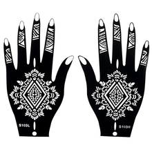 1 Pair Fake Henna Indian Black Waterproof Tattoos Ink Temporary Tattoos For Women Body Hand Art Painting Sticker Stencils S103