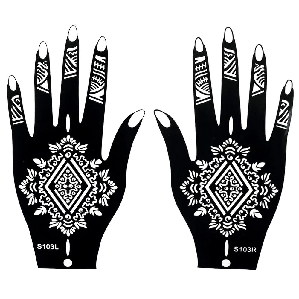 Us 1 99 1 Pair Fake Henna Indian Black Waterproof Tattoos Ink Temporary Tattoos For Women Body Hand Art Painting Sticker Stencils S103 Tattoo