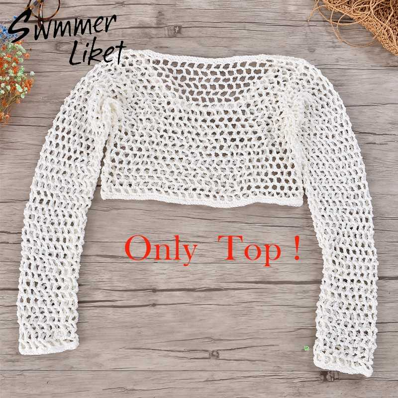 b5a90892ff ... Long sleeve cover up sun suit crochet handmade bikini set 2018 Sexy  summer swim suit white ...