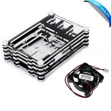 Прозрачный акриловый защитный чехол В виде ракушки крышку коробки с мини вентилятор охлаждения для Raspberry Pi 2 3 Модель B и b + (b плюс) доска