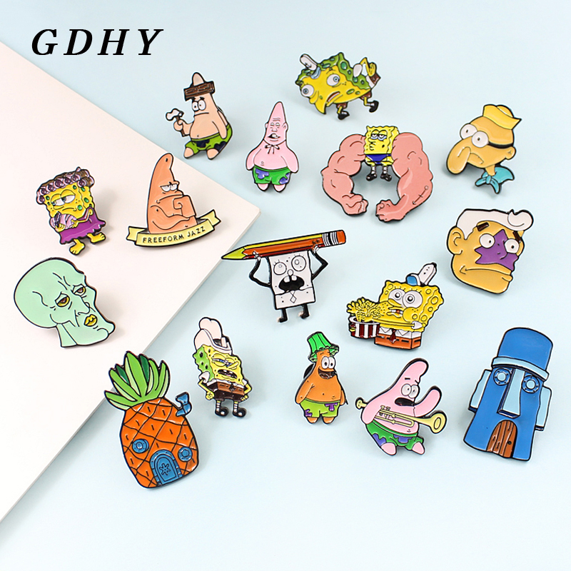 GDHY SpongeBob Anime Series brooch 16 Styles Sponge-bob Enamel <font><b>Pins</b></font> Sea stars Barnacle Boy Pineapple House For Kids <font><b>Button</b></font> Badge image