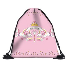Pure Handmade Polyester Linen Drawstring Bag Girls Travel Storage Package Bags Pink Cosmetic bag case with unicorn prints