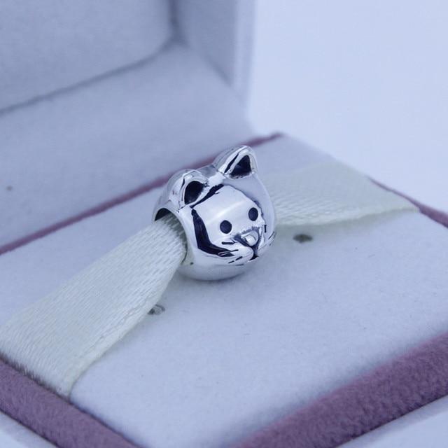 Fits Pandora Bracelet Necklace Silver Curious Cat Charm Original