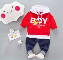 цена на Spring autumn Kids Clothes Sets Baby Boy Cotton Sports Hooded T Shirt Sweater shirt Pants sets Children Boys Kids Casual Suits