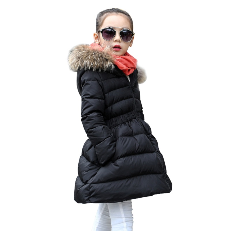 8dd1dab39431 2018 Children Long Winter Jacket Girl Fur Hooded Waist Design Thick Warm  Park 12 Years Girl Red Black kids Teenage Girls Clothes-in Down   Parkas  from ...