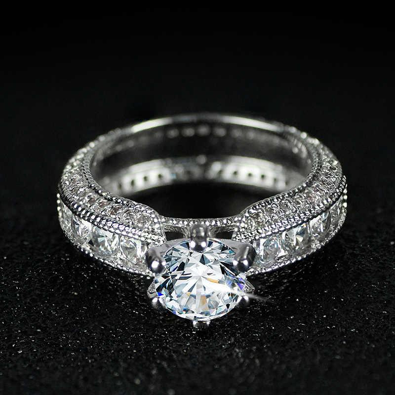 Envoyez un certificat en argent! Yanleyu 100% 925 bague en argent Sterling 3ct carré cubique zircone bague de fiançailles de mariage pour les femmes PR316